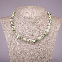 Бусы из натурального камня Змеевик крошка, диаметр 5-8мм, длина 42-48см