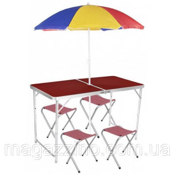 Складной стол + 4 стула в чемодане 120х60 см.
