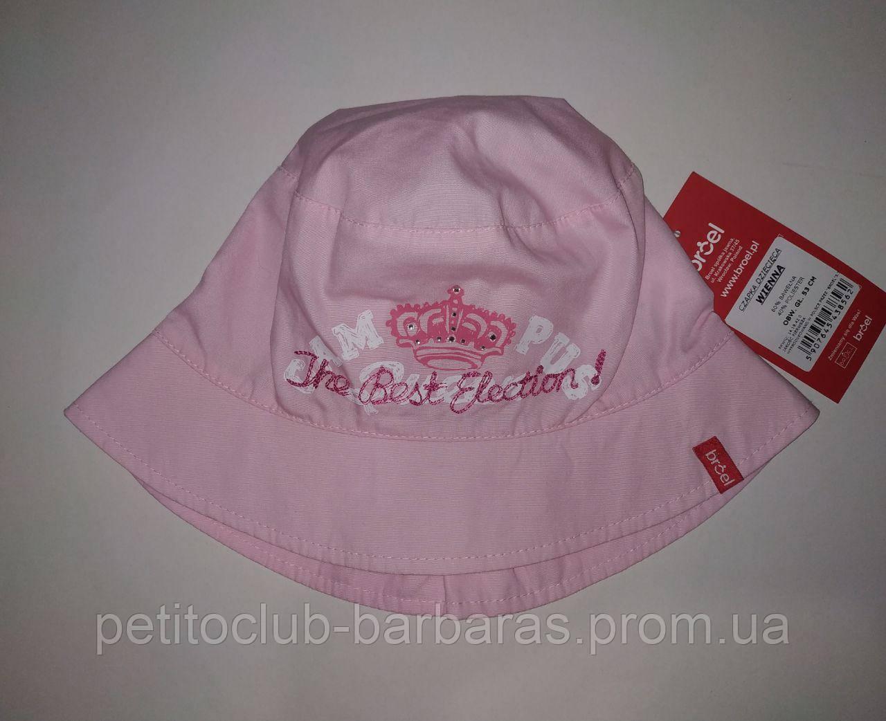 Детская летняя панамка для девочки Wienna розовая (Broel, Польша)