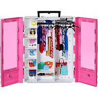 Игровой Набор Шкаф-чемодан для одежды и аксессуаров с вешалками для куклы Барби розовый - Barbie Ultimate Closet