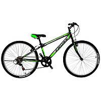 """Горный велосипед с Ободными Тормозами, 7 скоростей, Вилка с амортизацией 24"""" Pegas Рама-11"""" black-lightgreen"""