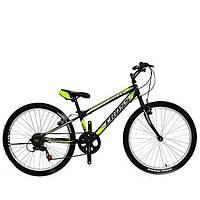 """Горный велосипед с Ободными Тормозами, 7 скоростей, Вилка с амортизацией 24"""" Pegas Рама-11"""" lightgreen-black"""