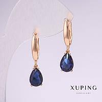 Серьги Xuping с камнями цвет синий 28х7мм позолот 18к