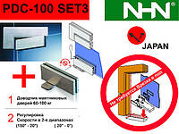 Доводчик, петлі, фітинги для маятникових скляних дверей NHN-PDC100 (Японія)