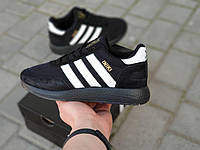 Женские кроссовки Adidas Iniki черные в стиле Адидас Иники натуральная замша
