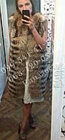 Роскошный жилет из енота. Удлиненная меховая жилетка из енота.