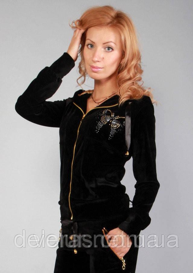 Женский черный спортивный костюм из велюра, купить в розницу, разм XS, S , M