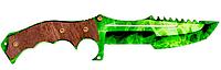 Нож Охотничий деревянный  из CS GO,  с узором Изумрудный зеленый