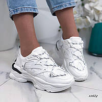 Женские кроссовки из эко-кожи белые, фото 1