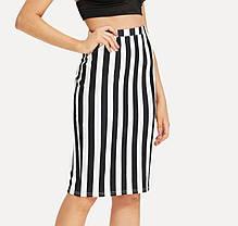 Стильная оригинальная юбка карандаш в полоску, фото 2