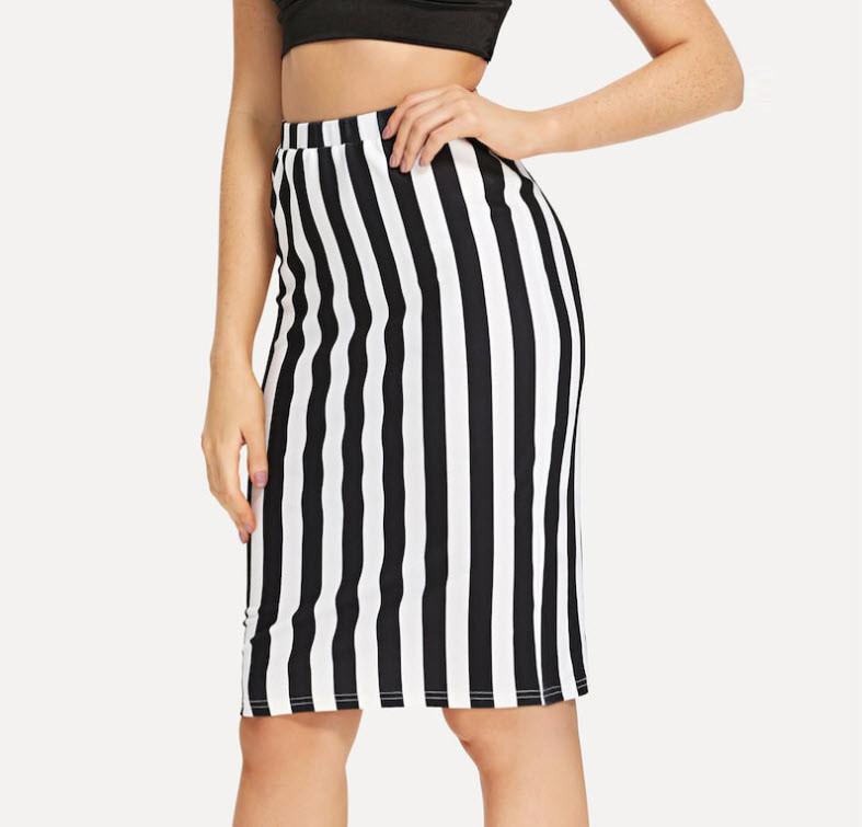 Стильная оригинальная юбка карандаш в полоску