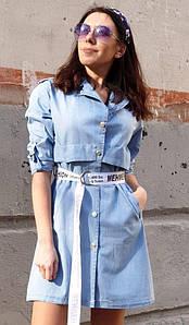 Женское джинсовое платье рубашка с длинным рукавом