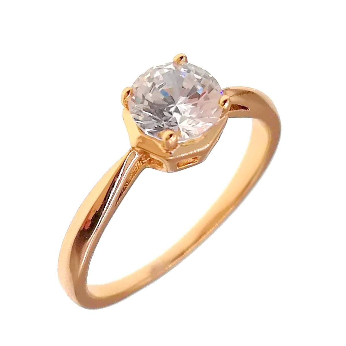Кольцо Xuping из медицинского золота, белые фианиты, позолота 18K, 11885                               (19)