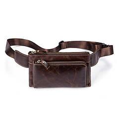 Бананка кожаная сумка на пояс Marrant коричневая