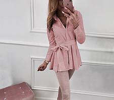 Элегантная блуза туника с поясом, L - XXL, фото 2