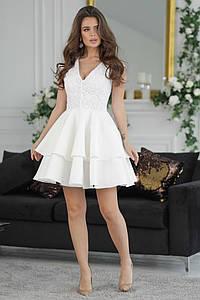 """Нарядное мини-платье """"ЛАУРА"""" с гипюром и ярусной юбкой (2 цвета)"""