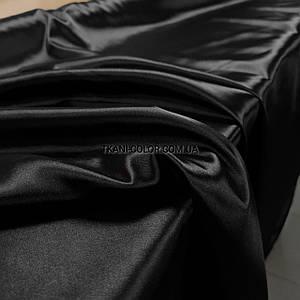 Тканина атлас стрейчевий тонкий чорний