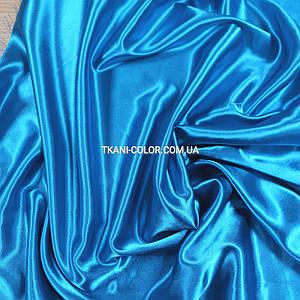 Тканина атлас стрейчевий блакитна бірюза