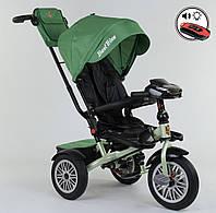 Велосипед трехколесный детский с родительской ручкой капюшоном надувные колеса Best Trike 9288 В-7215, фото 1