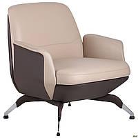 Кресло для офиса на ножках Absolute Beige/Coffee мягкое