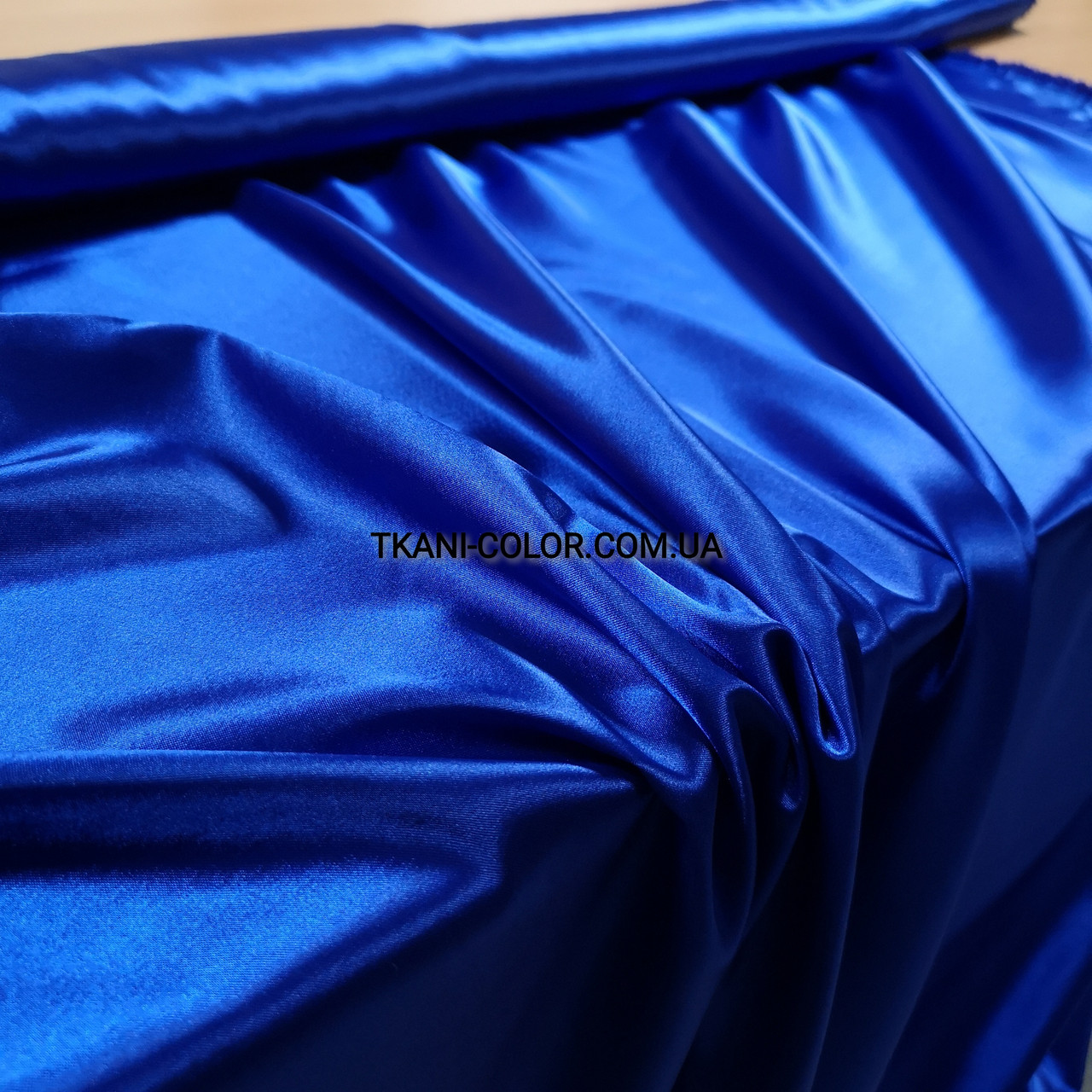 Ткань атлас стрейчевый тонкий синий электрик