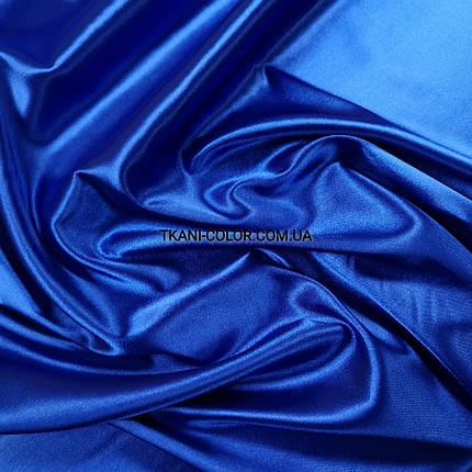 Ткань атлас стрейчевый тонкий синий электрик, фото 2