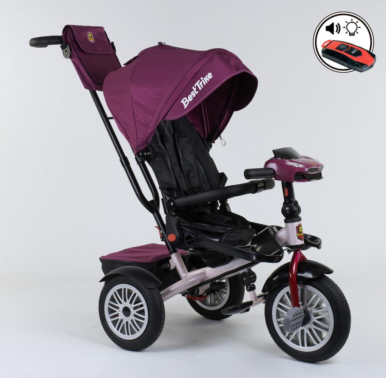 Трехколесный велосипед с ручкой козырьком фарой поворотное сиденье надувные колеса Best Trike 9288 В - 6945