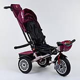 Трехколесный велосипед с ручкой козырьком фарой поворотное сиденье надувные колеса Best Trike 9288 В - 6945, фото 3