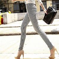 Стильные облегающие брюки лосины в полоску