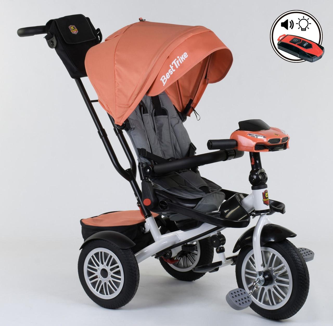 Трехколесный велосипед с ручкой козырьком фарой поворотное сиденье надувные колеса Best Trike 9288 В - 4716