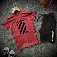Шорты + Футболка Off-White x burgundy  | спортивный костюм летний ТОП качества, фото 1