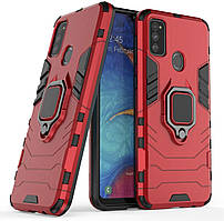 Чехол Iron Ring для Samsung Galaxy M21 / M215 бронированный бампер Броня Red