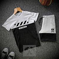 Шорты + Футболка Off-White // black-white | спортивный костюм летний ТОП качества, фото 1