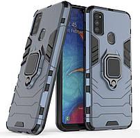 Чехол Iron Ring для Samsung Galaxy M21 / M215 бронированный бампер Броня Dark-Blue