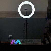 Селфи кольцо лампа 45 см на штативе 2 метра с держателем для телефона от сети Soft Ring Light LED подсветкой
