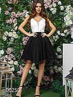 Платье для девушек с пышной юбкой на корпоратив, 00250 (Черный), Размер 42 (S)
