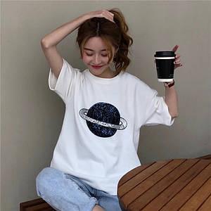 Женская стильная футболка с нашивкой из пайеток 42-44 р