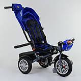 Трехколесный велосипед с ручкой козырьком фарой поворотное сиденье надувные колеса Best Trike 9288 В - 3105, фото 3