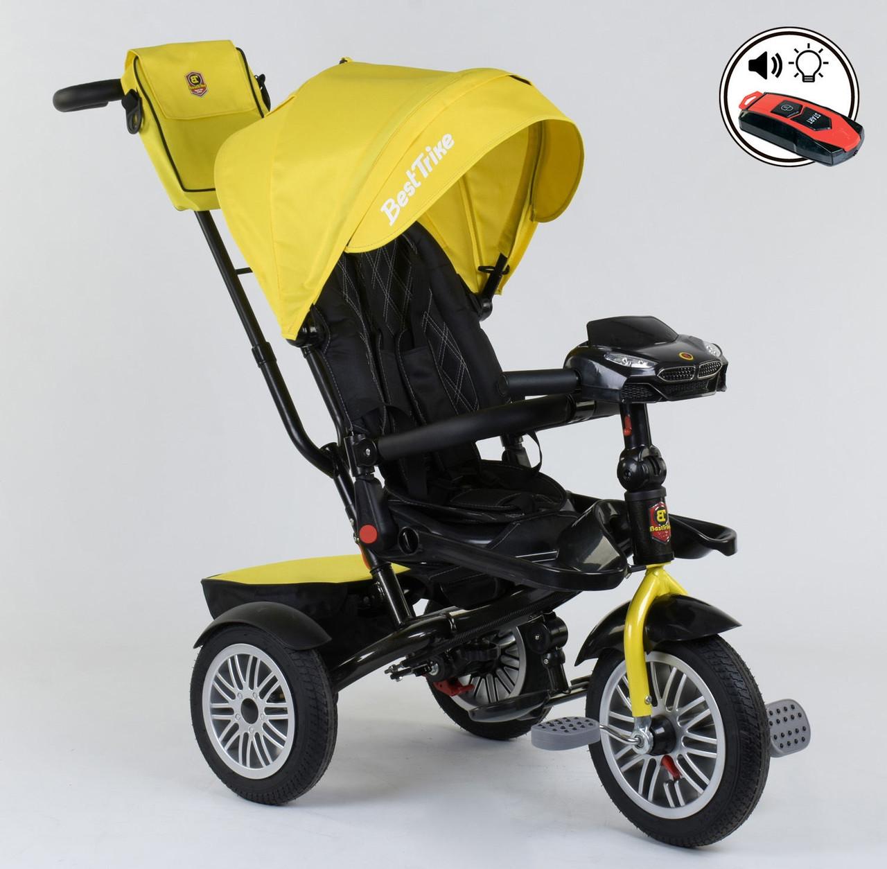 Трехколесный велосипед с ручкой козырьком фарой поворотное сиденье надувные колеса Best Trike 9288 В - 4835