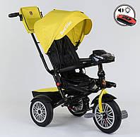 Велосипед трехколесный детский с родительской ручкой капюшоном надувные колеса Best Trike 9288 В-4835, фото 1
