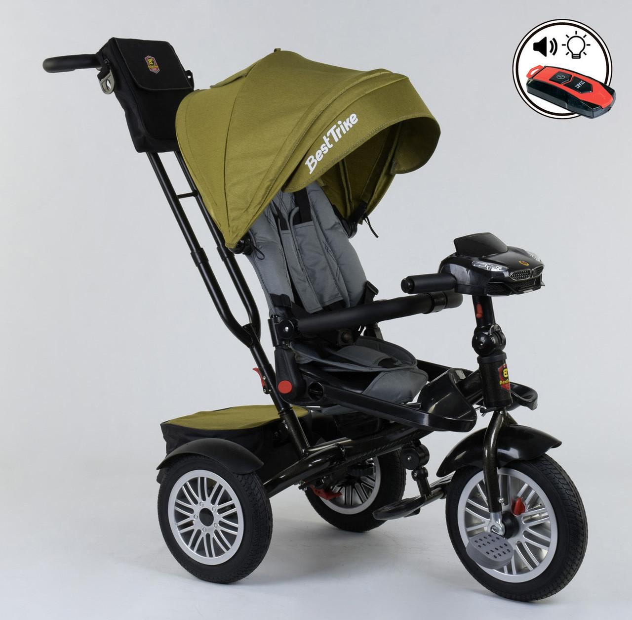 Триколісний велосипед з ручкою козирком фарою поворотне сидіння надувні колеса Best Trike 9288 В - 3679