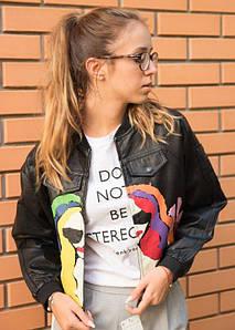Женская короткая куртка из экокожи с ярким рисунком 42-48 р
