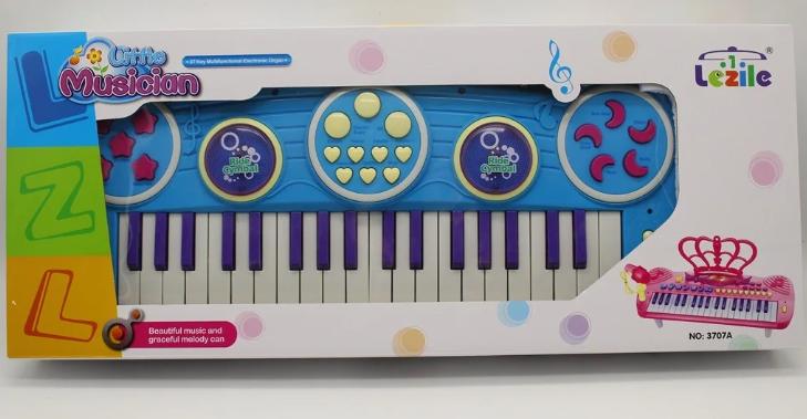 Игрушка детская синтезатор 3707A-8A 37 клавиш с микрофоном
