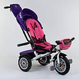 Трехколесный велосипед с ручкой козырьком фарой поворотное сиденье надувные колеса Best Trike 9288 В - 7598, фото 3