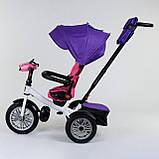 Трехколесный велосипед с ручкой козырьком фарой поворотное сиденье надувные колеса Best Trike 9288 В - 7598, фото 4