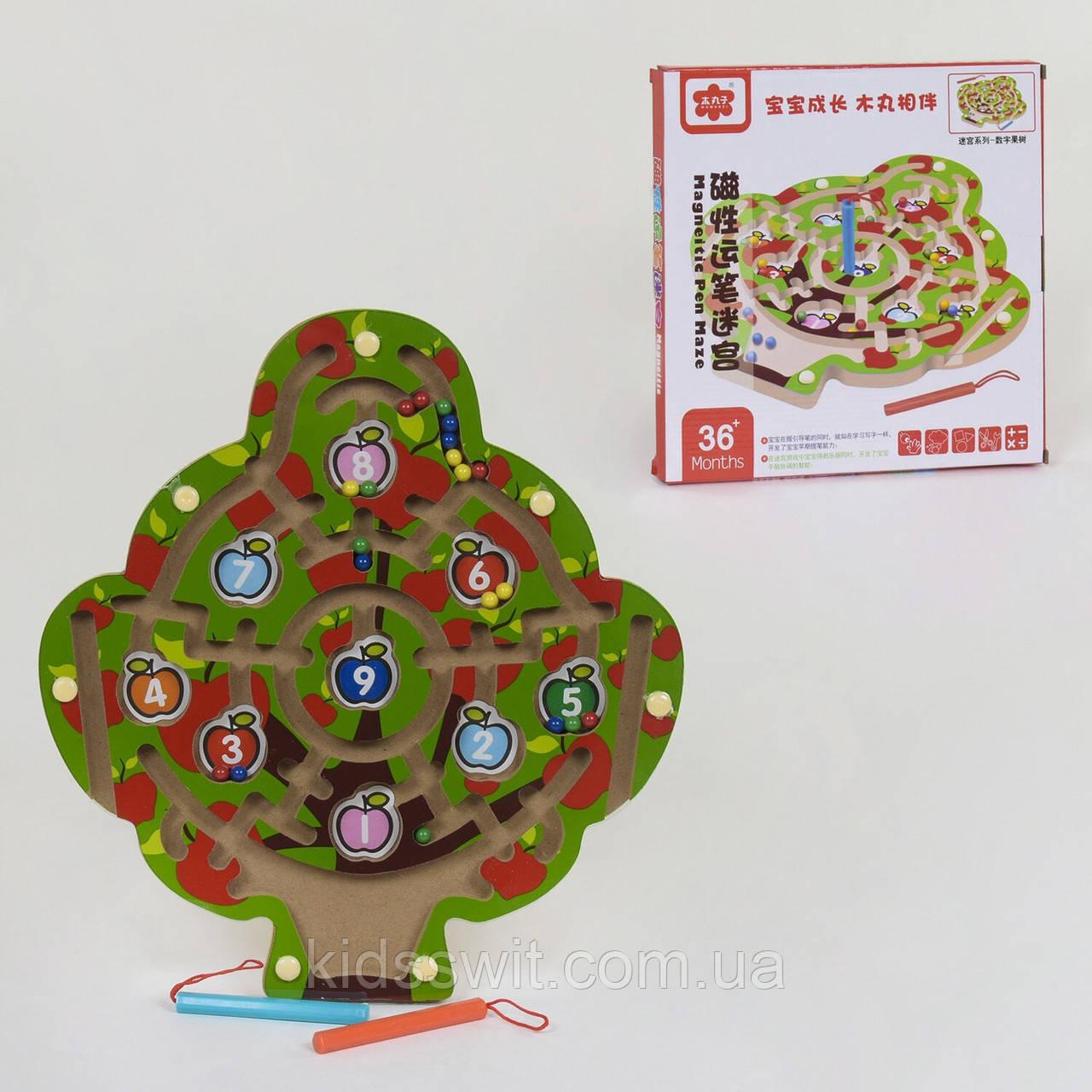 Дерев'яна іграшка Дерево-магнітний Лабіринт, C 39989