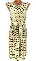 """Сукня жіноча """" Софі"""" 112 см кремовий / сарафан с откытой спиной / сарафан в горошек / штапельный сарафанчик"""