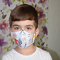 Детская маска трехслойная защитная многоразовая хлопковая. Рыцарь. Отправка в день заказа