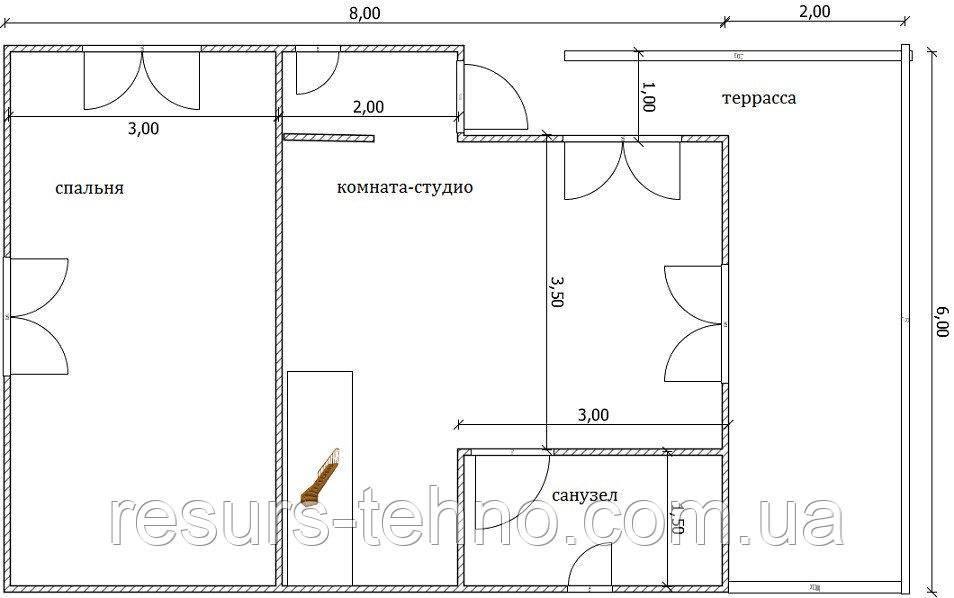 Дом 10м х 6м с терассой и мансардой