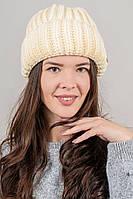 CASKONA Теплая шапка объемной вязки Инфинити - кремовый цвет, ONE SIZE